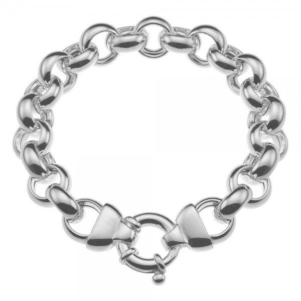 Zilveren jasseron armband met ronde schakels. 13 mm breed, 20 of 22 cm lang