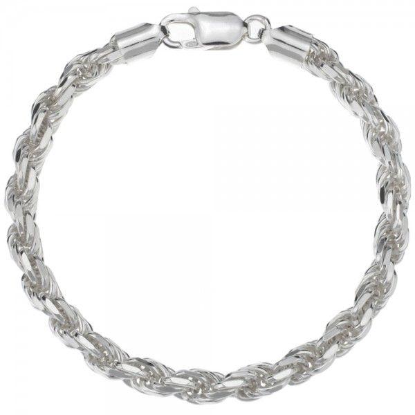 Koord armband van 925 zilver met geslepen schakels, breedte 6 mm. Alle lengtematen mogelijk!