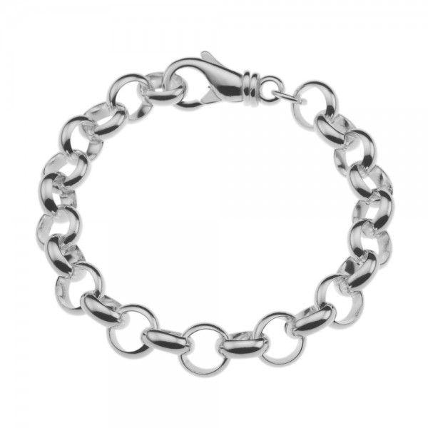 Zilveren jasseron armband met massieve schakels. 10 mm breed, alle lengtes mogelijk