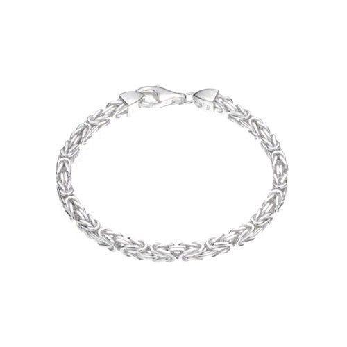 Zilveren konings armband met vierkante schakels van 4 mm breed, 19,5 of 22,5 cm lang.