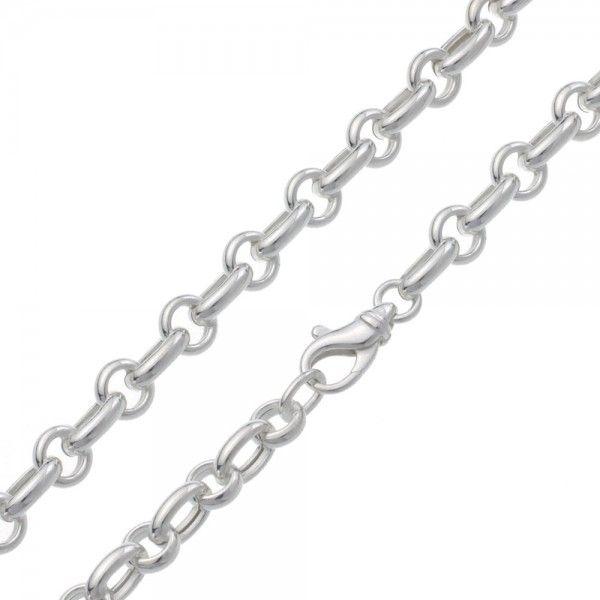 Zilveren jasseron ketting met 2 verschillende schakels. 7,5 mm breed, 45 cm lang. Sale!