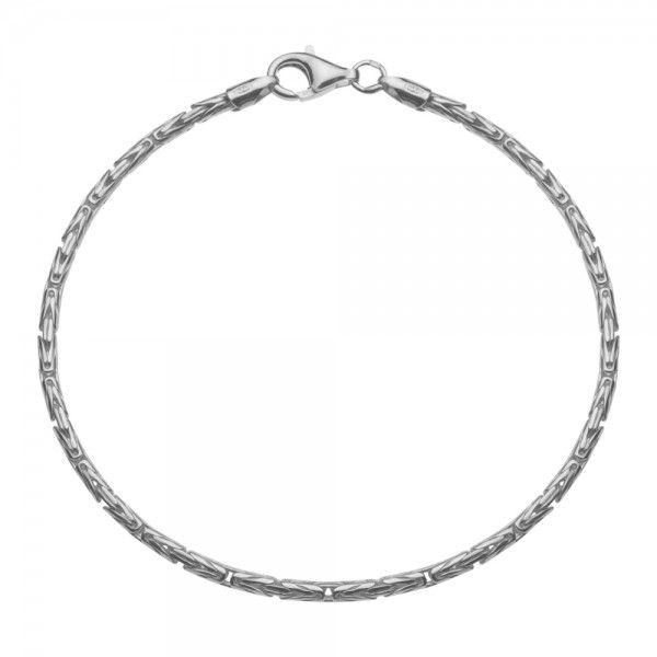 Zilveren konings armband met ronde schakels van 4 mm breed, in iedere gewenste lengte.