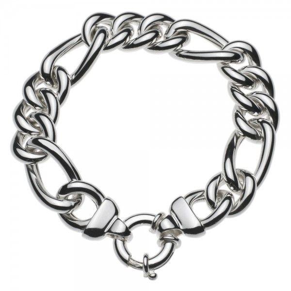Zilveren figaro armband voor dames met groot rond slot. Breedte 14 mm. Diverse lengtes. Sale!