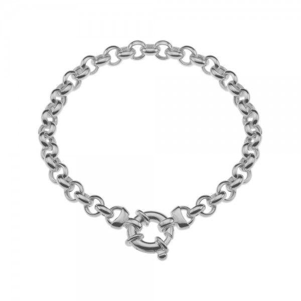 Zilveren jasseron armband met ronde schakels. 5,5 mm breed, 18 of 19 cm lang