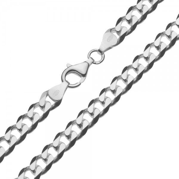 Zilveren gourmet ketting met platte schakels. Breedte 6,5 mm, lengte 50, 55 of 60 cm.