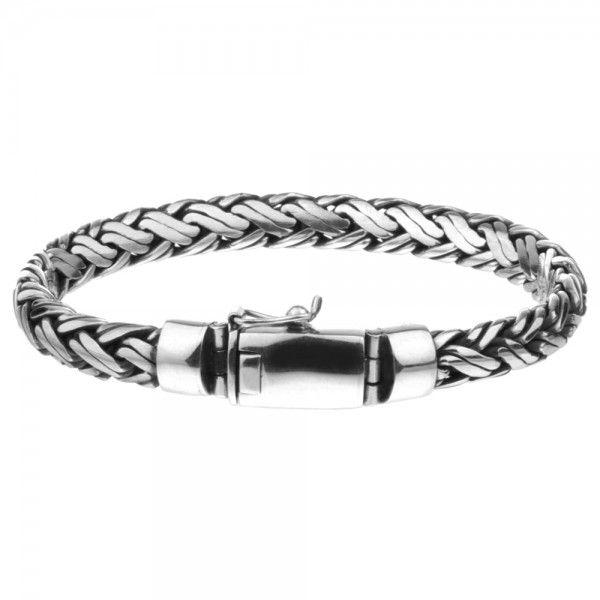 Zilveren geoxideerde en gevlochten armband van 8 mm breed en 18, 19, 20 of 21 cm lang