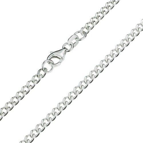 Zilveren gourmet ketting van 3 mm breed en 42, 45 of 80 cm lang.