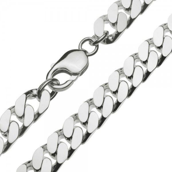 Zilveren gourmet ketting voor heren met dikke schakels. Breedte 9,5 mm, lengte 50 of 60 cm.