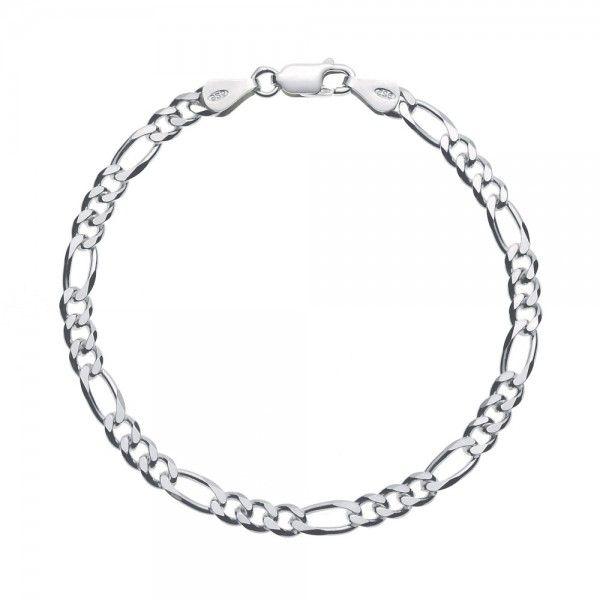 Massief zilveren figaro armband van 4,5 mm breed. Speciaal voor u op lengte gemaakt, dus alle lengtes mogelijk!