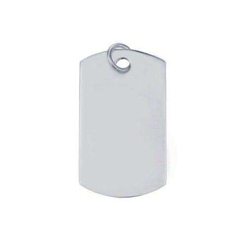 Zilveren graveerplaat. Model dog tag, hoekig. Afmetingen 3,5 x 2 cm. Inclusief gratis graveren.