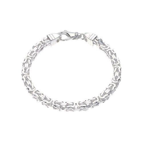 Zilveren konings armband met vierkante schakels van 5 mm breed, 20, 21 of 22 cm lang.