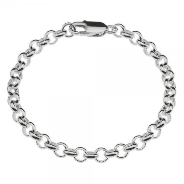 Zilveren jasseron armband met massieve schakels. 6 mm breed, alle lengtes mogelijk