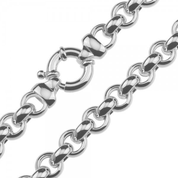 Zilveren jasseron ketting met ronde schakels. 10 mm breed, 45 of 50 cm lang.