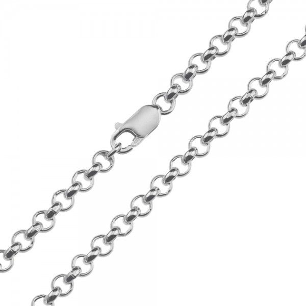 Zilveren jasseron ketting met massieve schakels. 5 mm breed, alle lengtes mogelijk.