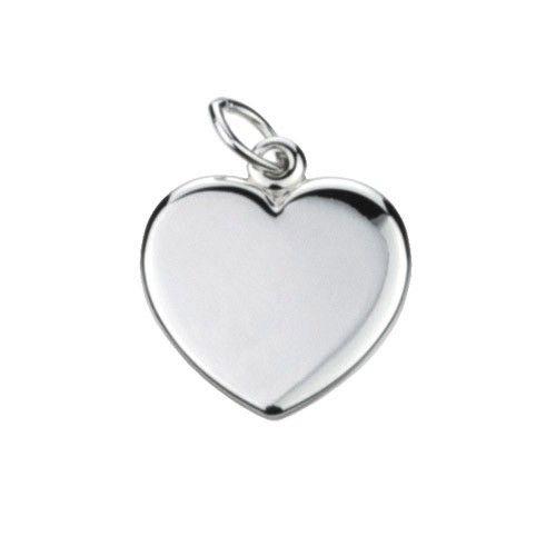Massief zilveren graveerplaatje, klein model hartje. Afmetingen van dit hangertje: 16 x 17 mm. Inclusief gratis graveren.