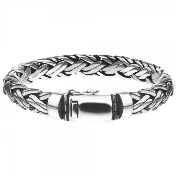 Zilveren geoxideerde en gevlochten armband van 10 mm breed en 19, 20, 21 of 22 cm lang