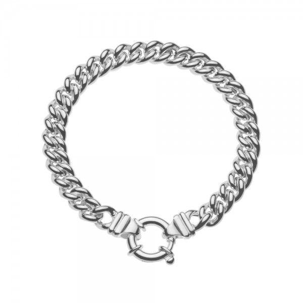 Zilveren gourmet armband voor dames met groot rond slot. Breedte 7,5 mm. Lengte 19 cm