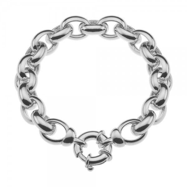 Zilveren jasseron armband met ovale schakels. 12 mm breed, 19,5 of 20,5 cm lang.