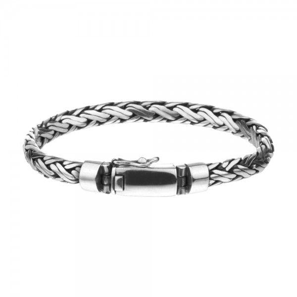 Zilveren geoxideerde en gevlochten armband van 6 mm breed en 18, 19, 20 of 21 cm lang