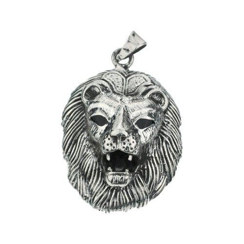 Hanger in de vorm van een zilveren leeuw. Lengte 5 cm, breedte 3,5 cm.