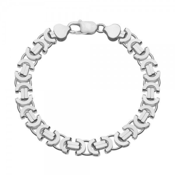 Zilveren konings armband met platte schakels van 11 mm breed. Elke lengte mogelijk