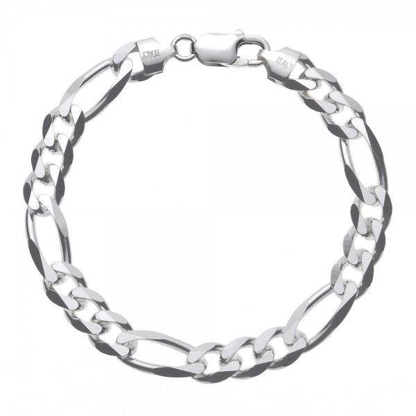 Massief zilveren figaro armband van 8 mm breed. Speciaal voor u op lengte gemaakt, dus alle lengtes mogelijk!