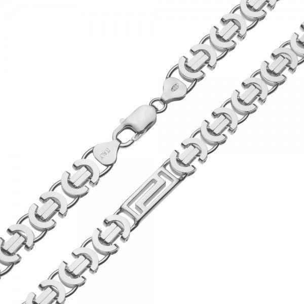 Zilveren konings ketting van 8,5 mm breed met 4 platen in de vorm van een doolhof ertussen, 60 of 70 cm lang.