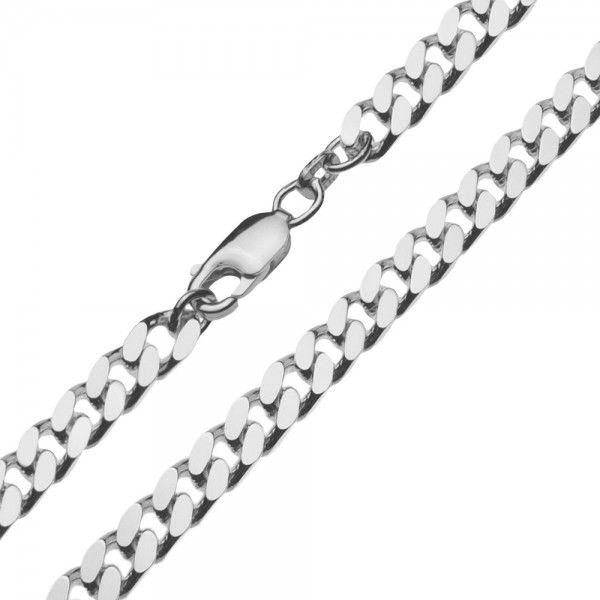Zilveren gourmet ketting voor heren met dikke schakels. Breedte 5,5 mm, lengte 45, 50 of 60 cm.