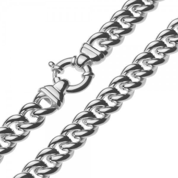 Zilveren gourmet ketting voor dames met groot rond slot. Breedte 11,5 mm, lengte 45 cm.