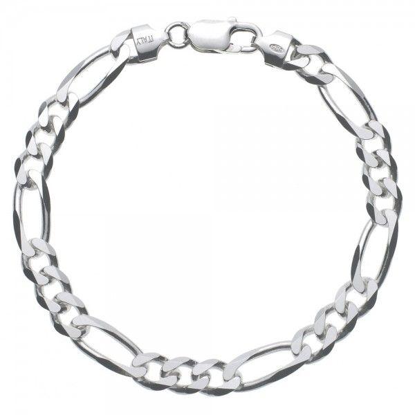 Massief zilveren figaro armband van 7,5 mm breed. Speciaal voor u op lengte gemaakt, dus alle lengtes mogelijk!