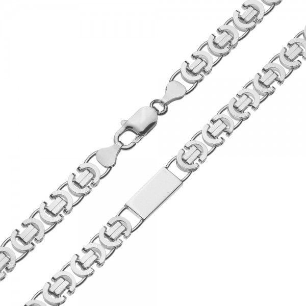 Zilveren konings ketting van 7,5 mm breed met 4 massieve platen ertussen, 60 cm of 70 cm lang.