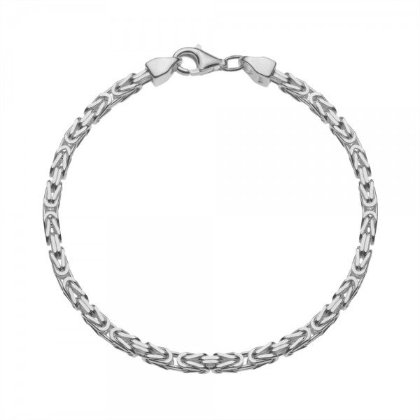 Zilveren konings armband met vierkante schakels van 3 mm breed, 19, 20 en 21 cm lang