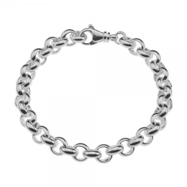 Zilveren jasseron armband met massieve schakels. 8 mm breed, alle lengtes mogelijk