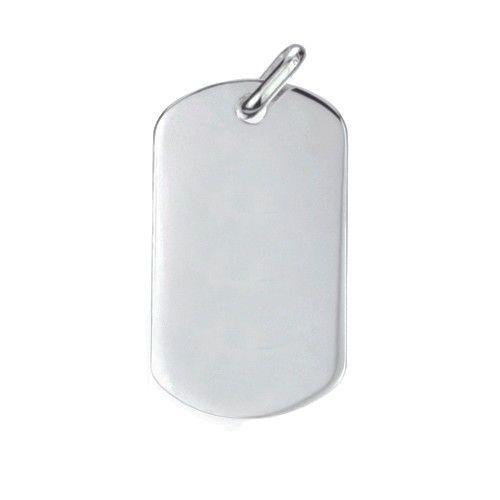 Zilveren graveerplaat. Model dog tag met ronde hoeken. Afmetingen 4,5 x 2 cm. Inclusief gratis graveren.