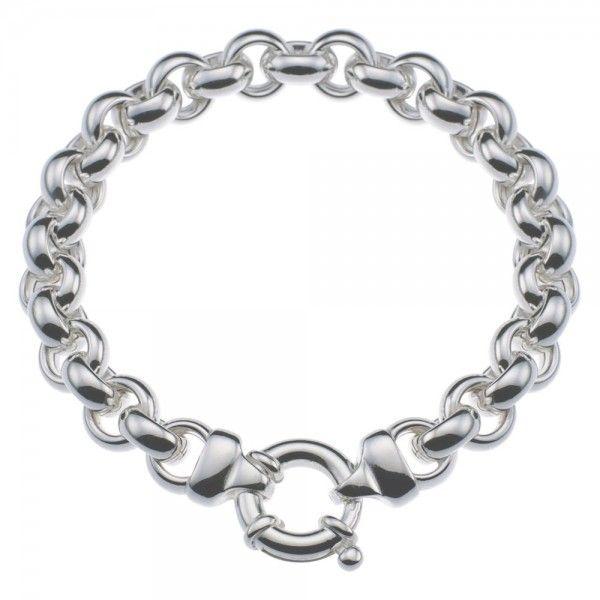 Zilveren jasseron armband met ronde schakels. 10 mm breed, 19, 20, 21 of 22 cm lang
