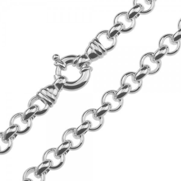 Zilveren jasseron ketting met massieve schakels. 8 mm breed, alle lengtes mogelijk.