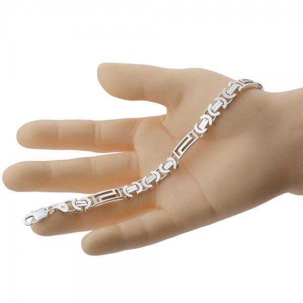 Zilveren konings armband van 8,5 mm breed met 3 platen in de vorm van een doolhof, 19 cm, 20,5 cm of 22 cm lang.