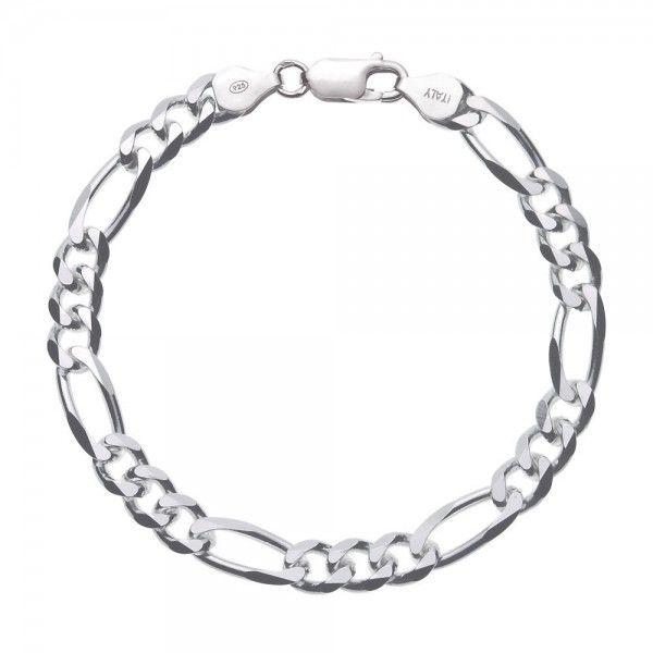 Massief zilveren figaro armband van 6,5 mm breed. Speciaal voor u op lengte gemaakt, dus alle lengtes mogelijk!