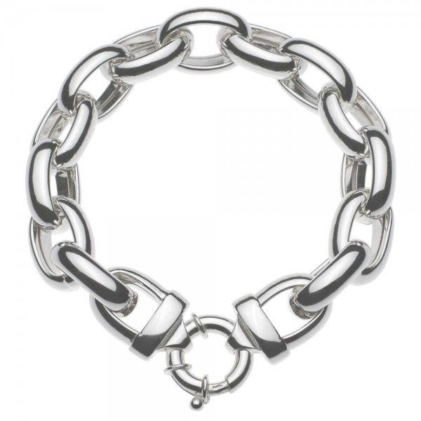 Zilveren jasseron armband met ovale schakels. 15 mm breed, 22,5 cm lang. Afgeprijsd!