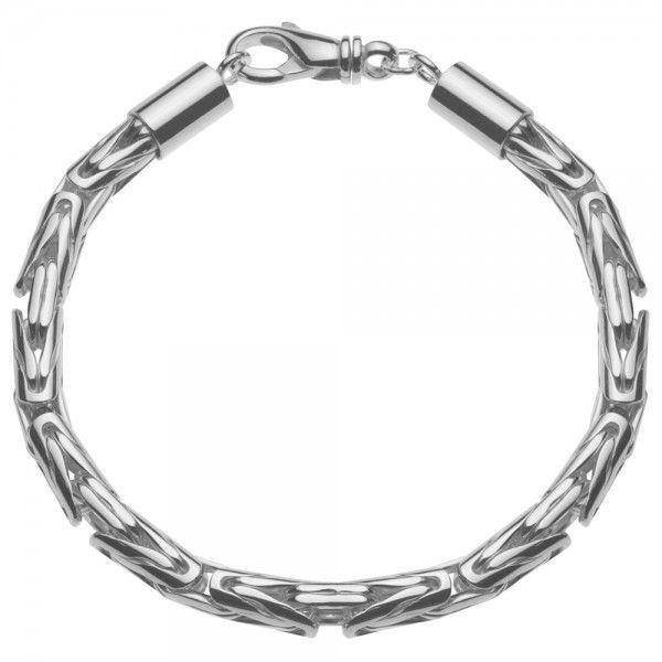Zilveren konings armband met ronde schakels van 6 mm breed, in iedere gewenste lengte.