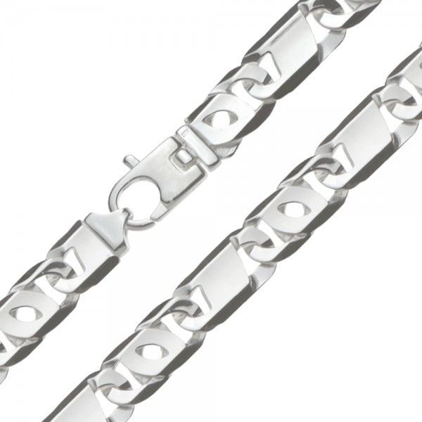 Zilveren Valkenoog ketting met plaatjes voor heren. Uit voorraad leverbaar in de lengte 60 cm.