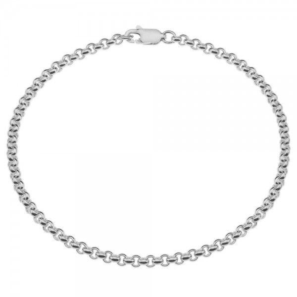 Zilveren jasseron armband met massieve schakels. 3 mm breed, alle lengtes mogelijk