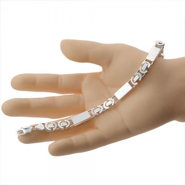 Zilveren konings armband van 8,5 mm breed met 3 massieve platen ertussen, 19 cm, 20,5 cm of 22 cm lang.