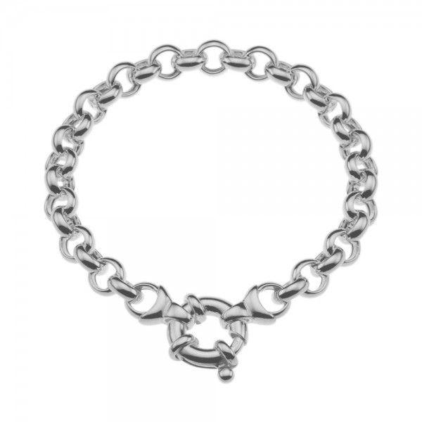 Zilveren jasseron armband met ronde schakels. 7 mm breed, 19 of 20 cm lang