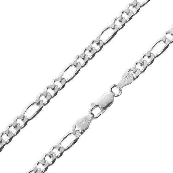 Massief zilveren figaro ketting van 4,5 mm breed. Speciaal voor u op lengte gemaakt, dus alle lengtes mogelijk!