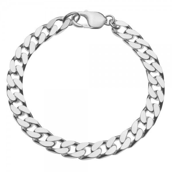 Zilveren gourmet armband voor heren met dikke schakels. Breedte 8 mm, lengte 21 of 22 cm.