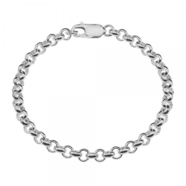 Zilveren jasseron armband met massieve schakels. 5 mm breed, alle lengtes mogelijk