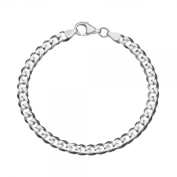 Zilveren gourmet armband met platte schakels. Breedte 5,5 mm, lengte 18,5 cm 19 cm of 20 cm.