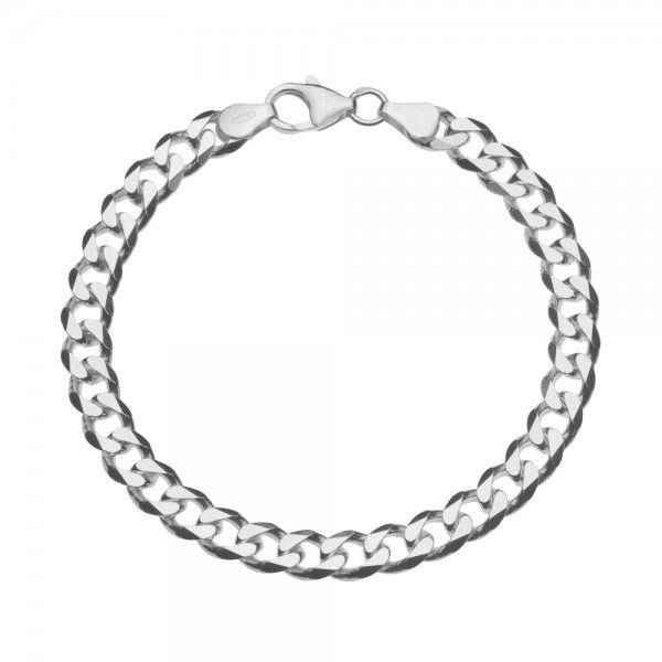 Zilveren gourmet armband met platte schakels. Breedte 6,5 mm, lengte 19 cm of 20 cm