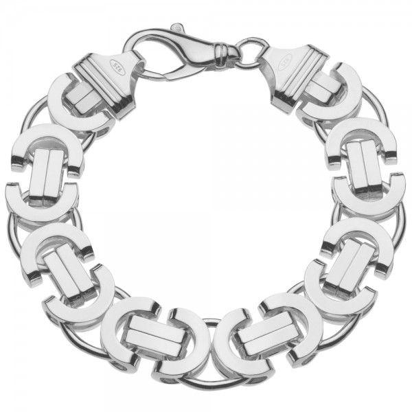 Zilveren konings armband met platte schakels van 16 mm breed. Elke lengte mogelijk